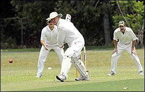 Century maker Chris Barrington moves forward to drive during his innings of 148 against Bellingen on Saturday. Photo: TREVOR VE