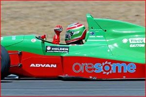 Gatton driver Derek Pingel raises his arm to celebrate his Australian Driver's Championship victory.