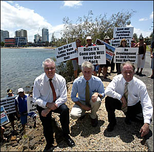 OUTLINING their plans to protesters yesterday for the Jack Evans Boat Harbour were (left to right) Greg Pearce, Geoff Provest a