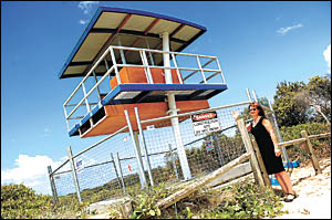 Rotary Club of Coffs Harbour Daybreak president, Loretta Rigby, is impressed with the first Tower of Strength to go up at Park
