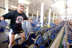 Central Comets enforcer George Tuakura muscles up at Rockhampton Fitness Centre yesterday for the 2007 Queensland Wizard Cup.