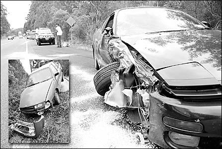 The Celica and (inset) the Commodore which collided on the Pacific Highway at Bonville yesterday.   Photos: BRUCE THOMAS 061213