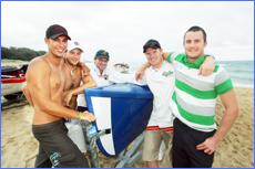 The Dicky Beach A-grade crew, from left, Matt Miller, Ben Cook, Bernie McMahon (sweep), Adam Roberts and Wade Clark.