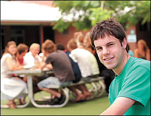 Former Bishop Druitt College student Leighton Kraa is off to Bond University but yesterday was relaxing with fellow HSC student