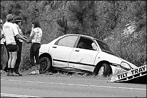 Shaken . . . a Sydney woman and her housemate escaped injury when their car ran off the road at Sapphire yesterday morning.