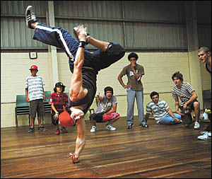 Look at him go . . . breaker ?Yeahummin? goes through his paces at the Holiday Coast Hip Hop Intensive Festival at Coffs Harbou
