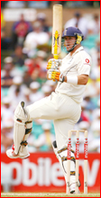 Kevin Pietersen pulls a shot to the leg side in his knock of 41 in England's first innings at the SCG.Pic: GETTY IMAGES