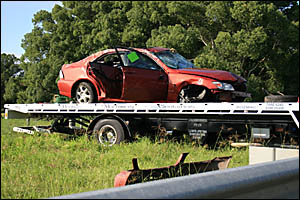 The car which rolled at Brushgrove yesterday.
