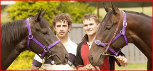 Scott Fitzgerald with Feline Hunter, left, and Aaron Cooper-Hayter with Cruskit. Picture: Neville Madsen