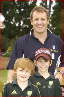 Wade Seccombe at the Toowoomba Grammar School Cricket Coaching Camp with sons Harrison and Alex. Pic: SCOTT FLETCHER