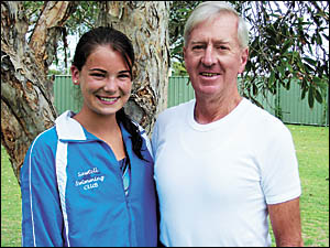 Sawtell?s Nicola Bird, 15, and 67-year-old Dennis Meagher get together to prove age isn?t a barrier to competing in the Novotel