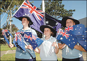 Guides Jessie-Lee Stewart, Eilidh Gorman and Shanae Wright get in some practice for their Australia Day role, when they will al