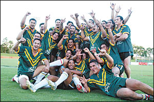 Players representing the Cook Islands celebrate their success in their last Coffs Harbour ?test?.