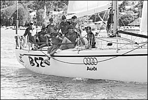 The ?rock lobsters? aboard B52 in the Pittwater to Coffs Harbour Yacht Race (left to right) Steve Brown, Garry Innes, Paul D?Ol