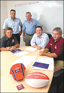 The ?team? behind a new three-year partnership involving the Fosters Group and Carlton Mid Group 2 rugby league, (standing) Ray