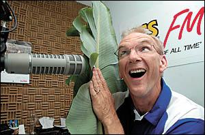 2CS radio announcer Ian Henderson surprising listeners with the secret sound of banana leaves.