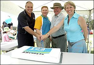 Happy 100th birthday ... from left: Coffs Ex-Services Club chief executive officer John Rafferty, Coffs Coast Advocate general