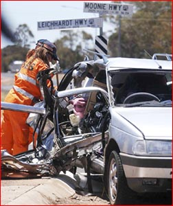 The 61-year-old male driver of this Peugeot died when it collided with a Landcruiser. Picture: Sunday Mail