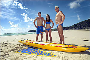 LOOKINGforward to a big day are Cabarita Beach Surf Life Saving Club members Ashley Baldry, Tacey Pascoe and Keith Wilson, read
