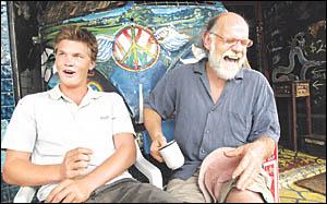LIKE FATHER, NOT LIKE SON: Hemp Embassy president Michael Balderstone, of Nimbin, with his son Jarrah, 19, of Ocean Shores, pic