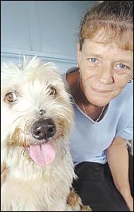 Heather Gurney and her dog Yogi, now nine years old. Yogi?s dangerous dog declaration was lifted on Thursday.