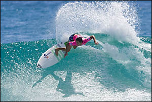 Chelsea Georgeson-Hedges top-scores in the Roxy Pro yesterday.