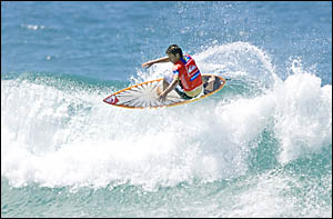 Danny Wills, 31, on his way to defeating fellow Aussie Adrian Buchan in the second round of the Quiksilver Pro World Championsh