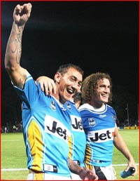 Nathan Friend can't wait to rejoin fellow Titans players like Mat Rogers (left) and Matt Petersen. Getty Images