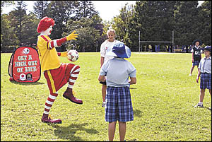 Ronald McDonald and Coffs Harbour?s own Matilda?s football star Jenna Tristam officially kick off the 2007 McDonald?s Northern