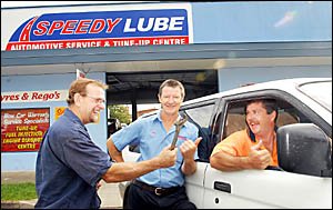 Onya Speedy Lube . . . Gordon King (right) wouldn?t have made it to his dive in Sydney without the help of Warren Smith, Doug M