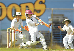 While the big boys had the weekend off, the junior cricketers carried on regardless. Sawtell Sharks under-13 batsman Jake Murph