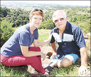 Denise and Norm Olsen on their Richmond Hill property they bought after moving up from Sydney.