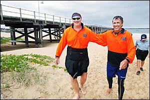 Kayaking for Kemo Kids sea kayakers Bob Glenister and Allen Rutter head for a hot shower. Photo: TREVOR VEALE 07031405A