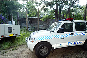 POLICE car parked outside the bushland home off Byrill Ck Rd