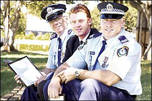 THANKS FELLAS: From left, Leading Senior Constable Steve Connor, Senior Constable Steve Kelly, and Sergeant Greg Pike all recei