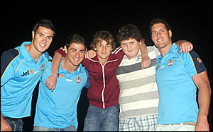 MARK Minichiello, second left, with fellow Titans Richie Mathers and Josh Graham, and winning film makers Nick Lovett and Nick