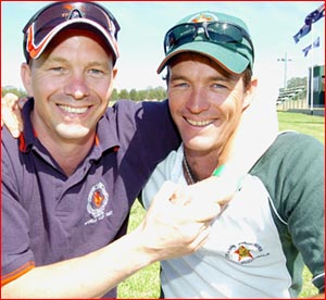 Brothers Jason and Shannon Burbidge who will play for opposing nations during next week's 2007 Polocrosse World Cup