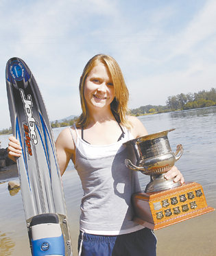 A prize trophy for a prize performance from Jacinta Clegg at the recent water-skiing national championships.