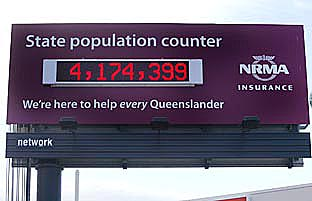RISING FAST: State population counter shoots ahead.