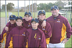 Local baseballers at the Ocania titles (from left) Michael Gahan, Dean Gillespie, Mitchell Watt, Lewis Johnson and Fletcher Pat