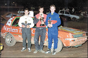 Junior placegetters, from left, Jordan Biviano (third), Max Clarke (first) and Jon McCorkindale (second).Picture: TONY POWELL