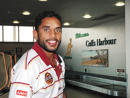 Titans fullback Preston Campbell arrived at the Coffs Harbour Airport with the rest of the City Origin v Country Origin players