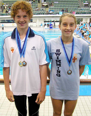 IN THE SWIM: Dylan Brown and Taylah Chapman at the All Schools Swimming titles in Sydney.