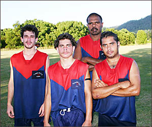 BILLY WALKER jnr, right, with Matty Doolan, left, brother Andrew Walker, and brother-in-law Rod Harrison, when the Demons playe