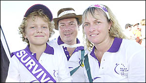 LIFE TIME: Jye Tudehope-Sun, 6, with parents Stephen and Narelle Sun at the Kyogle and Village Relay for Life at the weekend. J
