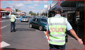Police stopped motorists in a blitz on Ruthven Street pedestrian crossings yesterday during Operation Flounder.