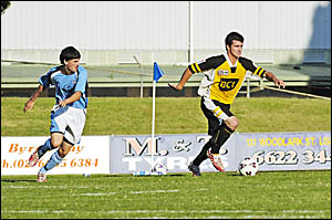 Goonellabah's Ben Andrews finds some space in the game against Ballina at Oakes Oval last Saturday. Goonellabah won 2-1.