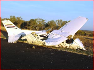 Two men were lucky to walk away from this aircraft after it dropped from the sky soon after take-off yesterday afternoon.