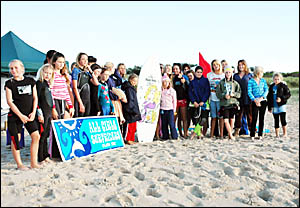 SET FOR THE SHOWDOWN: All Girls Surfriders members during their club round at Ballina North Wall this month.