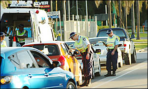 REINED-IN: A picture of a blitz on drink-driving by police during last years Ballina Cup races.